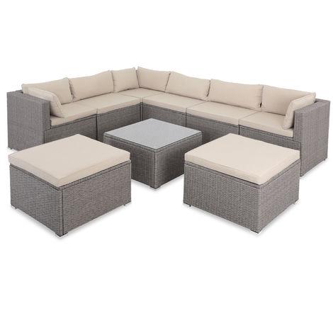 Casaria Poly Rattan XXL Lounge Set with strong cushions & pillows + 2 stools Corner Garden Furniture Lounge Patio Set