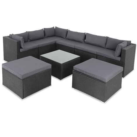 """main image of """"Casaria Poly Rattan XXL Lounge Set with strong cushions & pillows + 2 stools Corner Garden Furniture Lounge Patio Set"""""""