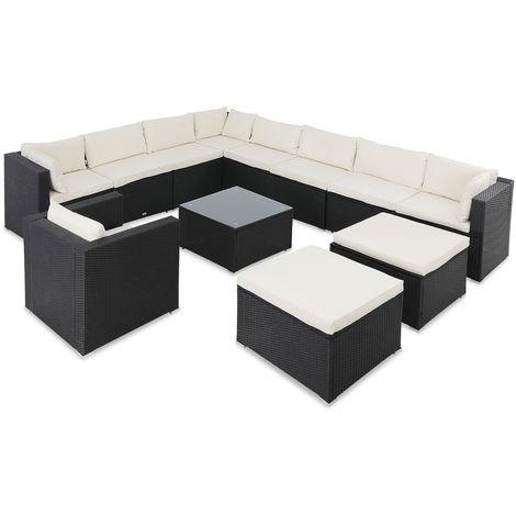Casaria Poly Rattan XXXL Lounge Set with Cushions & 2 Stool Garden Outdoor Patio Furniture