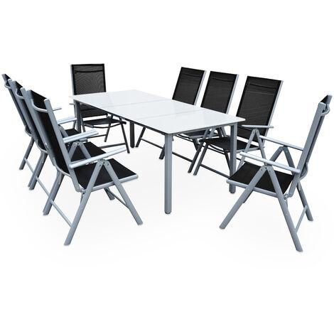 Casaria Salon de jardin aluminium »Bern« 1 table 8 chaises pliantes différentes couleurs plateau de table en verre dépoli dossier réglable 7 positions