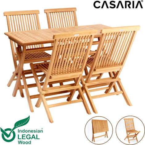 """main image of """"Casaria Seating Group Cantaria Foldable Teak Wood SVLK certified 4+1 Garden Chairs Garden Table Foldable Seating Set"""""""