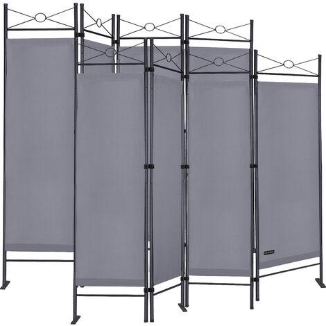 Casaria Set de 2 paravents »Lucca« 180x163 cm parois séparation brise-vue gris
