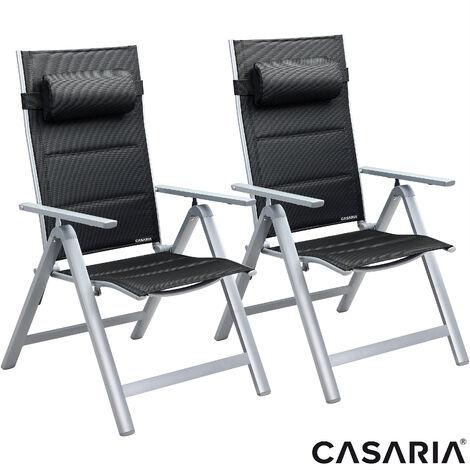 CASARIA Set Of 2 Aluminum Garden Chairs Bern Premium Anthracite