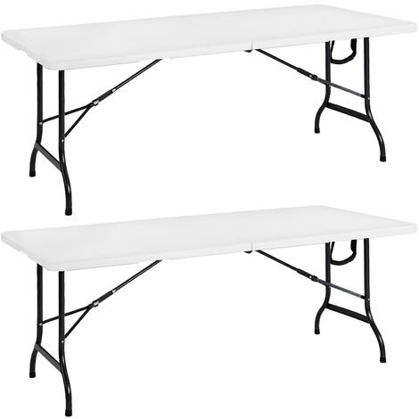 """main image of """"Casaria Set Of 2 Garden Table Foldable With Handle 182x76cm Light Plastic Camping Table Folding Buffet Furniture White"""""""