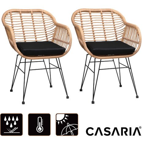 Casaria Set Of 2 Wicker Chairs Garden Seat Dining Stool With Cushions In Rattan Optics Lounge Seating Accommondation
