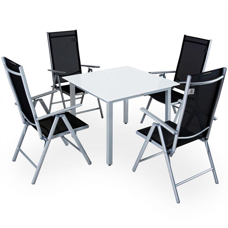 Set Tavolo con Sedie 4+1 Bern in alluminio Sedie pieghevoli e Tavolo da giardino 90x90cm con vetro smerig
