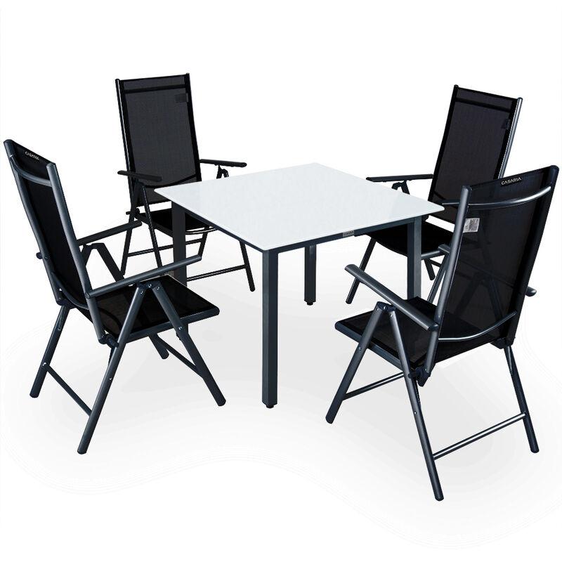 Casaria Set Tavolo con Sedie 4+1 Bern in alluminio Sedie pieghevoli e Tavolo da giardino 90x90cm con vetr