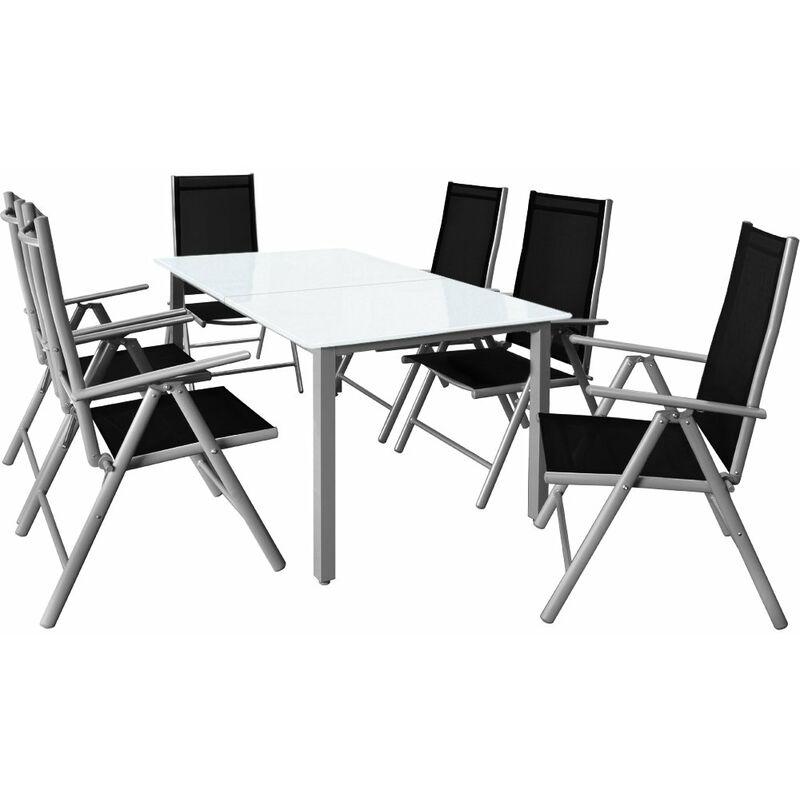 Set Tavolo con Sedie 6+1 Bern in alluminio Sedie pieghevoli e Tavolo da giardino 150x90cm con vetro smeri