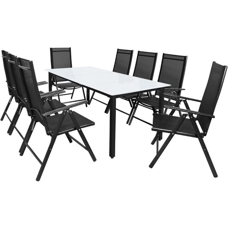Casaria Set Tavolo con Sedie 8+1 Bern in alluminio Sedie pieghevoli e Tavolo da giardino 190x90cm con vet