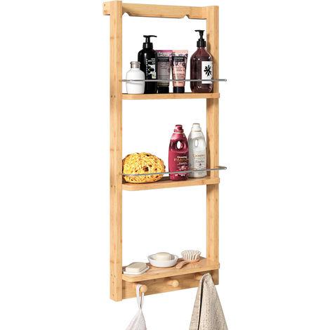 Casaria Shower Shelf Bamboo Hanging Shelves Organizer Caddy 3 Tiers Storage 70x28,5x10 cm