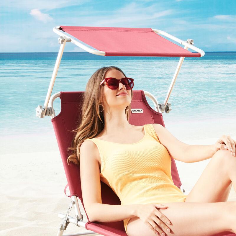 Casaria 2X Sonnenliege Ibiza Aluminium Sonnendach 190cm Gartenliege Strandliege Alu Liege Freizeitliege Perlrubinrot