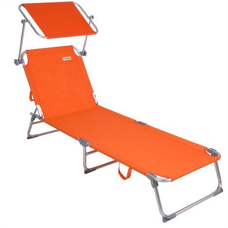 Casaria Sun Lounger Folding Sunbed Adjustable Backrest Sunshade Breathable Reclinable Beach Garden Pool Fast Dry