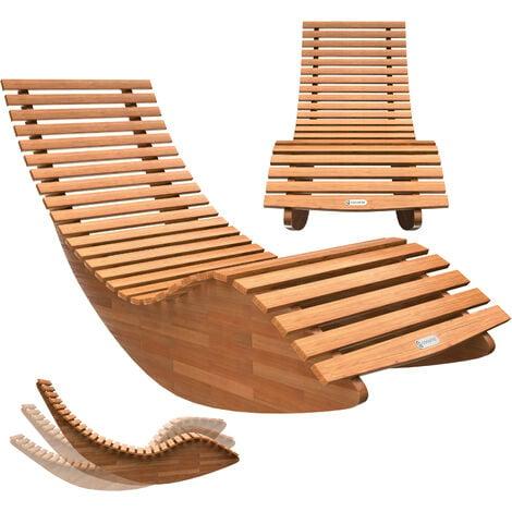 "main image of ""Casaria Sun Lounger Wooden Ergonomic FSC-Certified Acacia Wood Rocking Deck Chair Recliner Garden Patio Pool Sauna"""