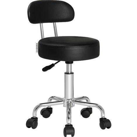 Casaria Taburete con ruedas Negro giratorio con respaldo estable funda lavable 35 x 63-73 cm oficina interior asiento
