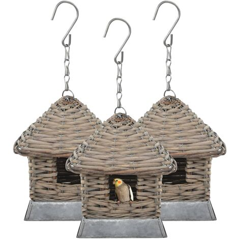 Casas para pájaros 3 unidades mimbre