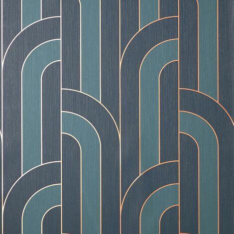 "main image of ""Cascade Arch Navy Gold Wallpaper Fine Decor Metallic Textured Vinyl"""