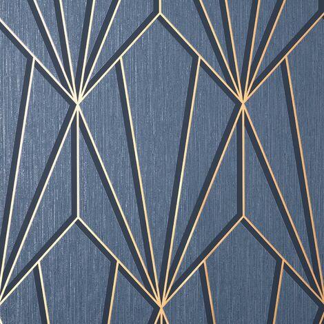 "main image of ""Cascade Geometric Navy Gold Wallpaper Fine Decor Metallic Textured Vinyl"""