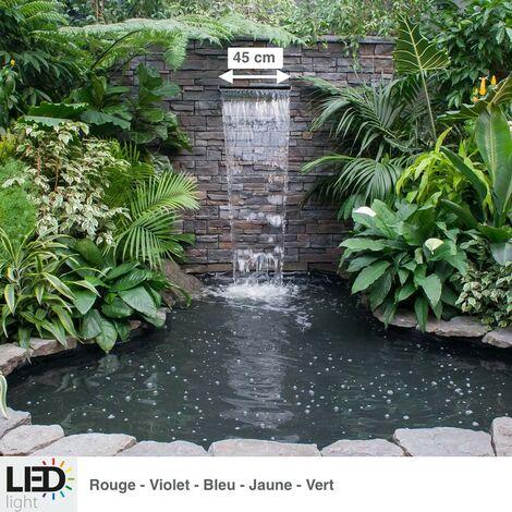 Cascade, Lame D'Eau 45 cm Inox + LED Couleur Pour Bassin De Jardin