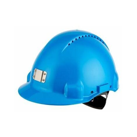 Casco azul con sujeta-lámpara arnés ruleta banda sudor plástico G3000
