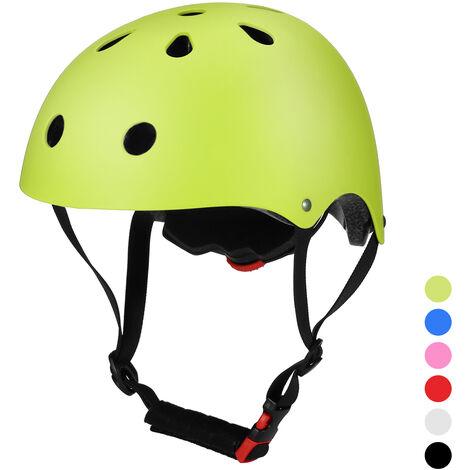Casco de bicicleta Casco de seguridad multideportivo para ninos / adolescentes / adultos Ciclismo Patinaje Patineta Patineta, Amarillo, S (52 - 54cm)