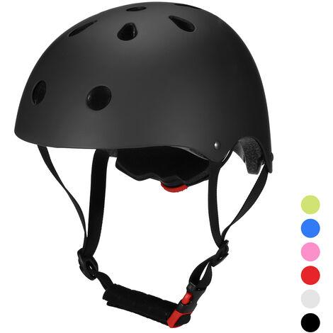 Casco de bicicleta Casco de seguridad multideportivo para ninos / adolescentes / adultos Ciclismo Patinaje Patineta Patineta, Negro, S (52 - 54cm)