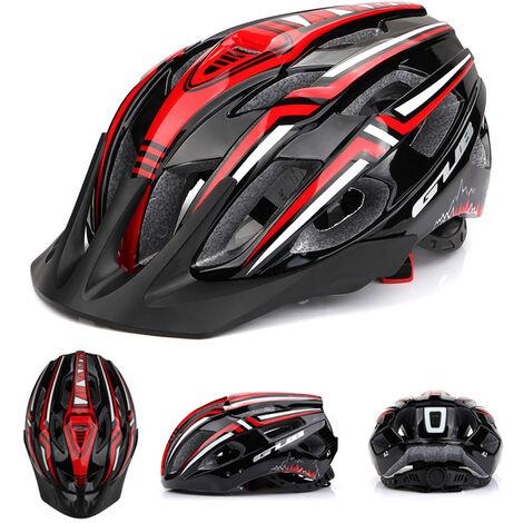 Casco de ciclista con USB recargable de luz LED Ligera Montana bici del camino del casco de seguridad al aire libre del deporte del casco 19 Vents, Negro