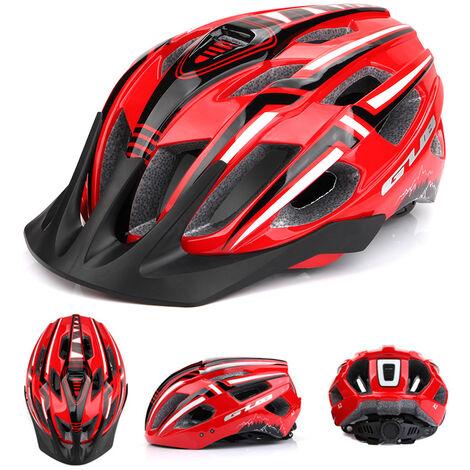 Casco de ciclista con USB recargable de luz LED Ligera Montana bici del camino del casco de seguridad al aire libre del deporte del casco 19 Vents, Rojo