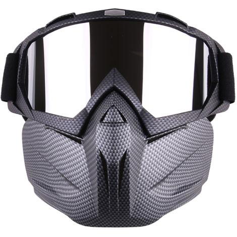 Casco de motocicleta, gafas de mascara facial modulares desmontables