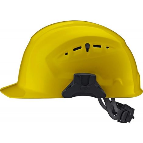 Casco de obra CrossGuard con rueda de ajuste, amarillo