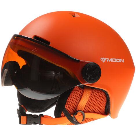 Casco de snowboard, con orejeras, casco de esqui para deportes de nieve, Naranja, L