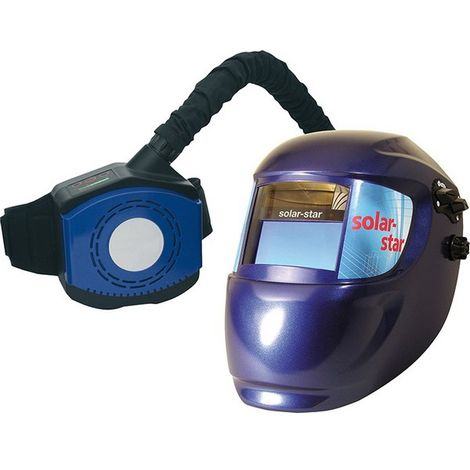 Casco de soldador con sistema de respiratorio, Modelo : Casco automático solar-protect con sistema de protección respiratorio respiratorio
