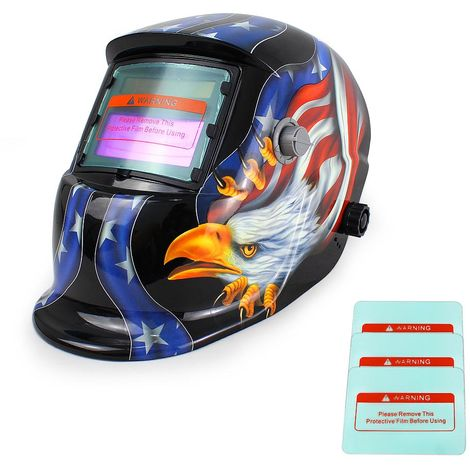 Casco de Soldadura Ajustable, Casco de Soldadura de Oscurecimiento Automático, Con 3 lentes adicionales, Patrón de Águila, Material: Plástico (PP, PE), PCB