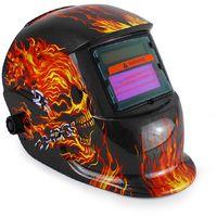 Casco de Soldadura Ajustable, Casco de Soldadura de Oscurecimiento Automático, Patrón de fuego, Material: LCD, Plástico (PP, PE)