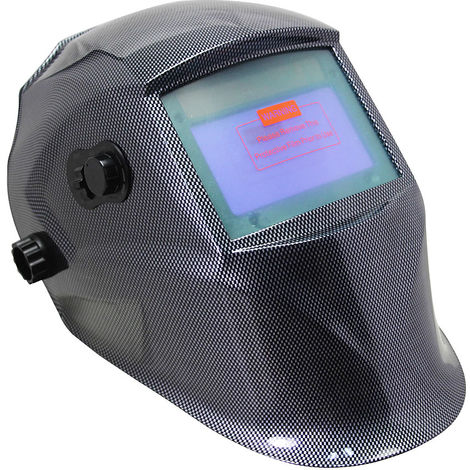 Casco de soldadura automática + 10 gafas de recambio Máscara de soldadura de carbono Pantalla