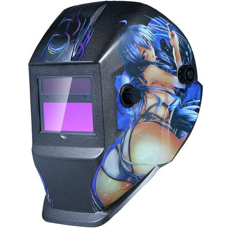 Casco de soldadura de energia solar de oscurecimiento automatico de Campana con pantalla abatible Rango 4 / 9-13 para Mig Tig soldador de arco Mascara Escudo, Diseno muchacha de la historieta