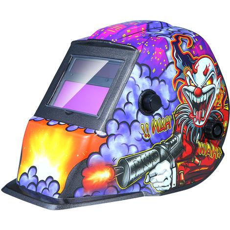 Casco de soldadura de energia solar de oscurecimiento automatico de la capilla con pantalla abatible Rango 4 / 9-13 para Mig Tig soldador de arco Mascara Escudo Purpura del diseno del payaso