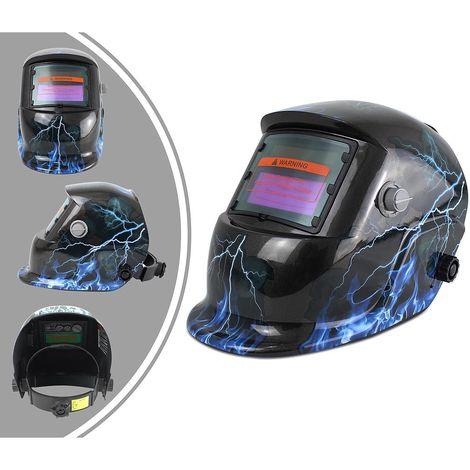 Casco Regolabile Per Saldatura, Casco per Saldare Auto oscurante, con 3 lenti supplementari, Modello fulmine, Materiale: Plastica (PP, PE), PCB