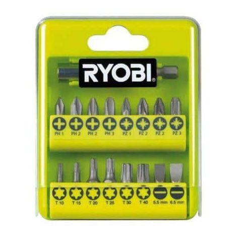 Case RYOBI 17 accessories screwing philips - flat - pozidriv - torx RAK17SD
