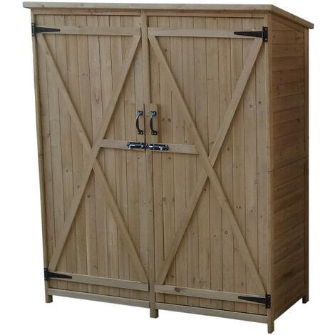 Caseta armario exterior sundy de madera maciza 140 x 50 x 162 cm knh1110 gardiun 8436038132741 - Armario de madera para exterior ...