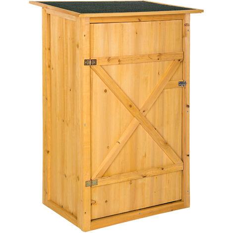 Caseta armario para jardín - mueble de terraza de madera, armario exterior para trabajos de jardinería, armario impermeable con estantes - marrón