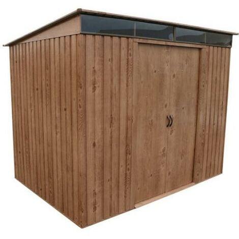 Caseta Cobertizo Metal Jardin Pent Roof 8X6 Duramax Marron