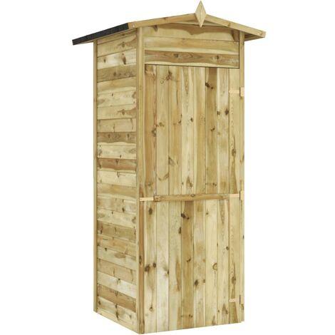 Caseta de almacenaje de jardín madera de pino 100x100x210 cm
