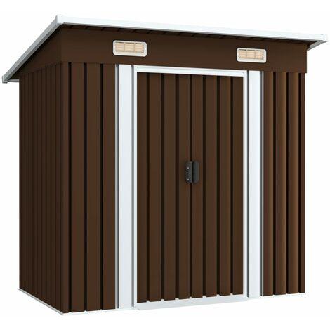 Caseta de almacenamiento jardín acero marrón 194x121x181 cm