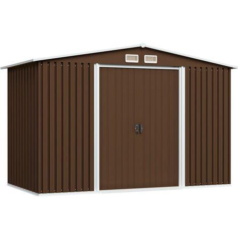 Caseta de almacenamiento jardín acero marrón 257x205x178 cm