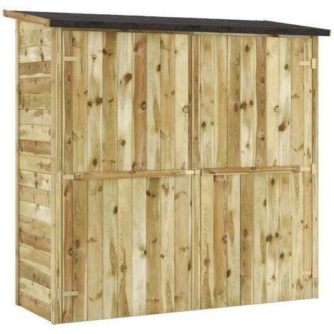 Caseta de herramientas de jardín madera pino FSC 192x76x175 cm