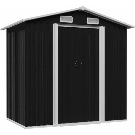 Caseta de jardín de acero gris antracita 204x132x186 cm
