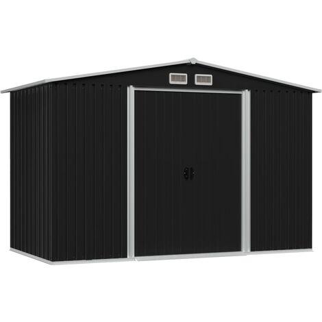 Caseta de jardín de acero gris antracita 257x205x178 cm