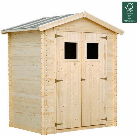 Caseta de jardin de madera natural. Cobertizo para terraza
