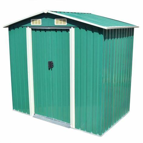 Caseta de jardín de metal 204x132x186 cm verde
