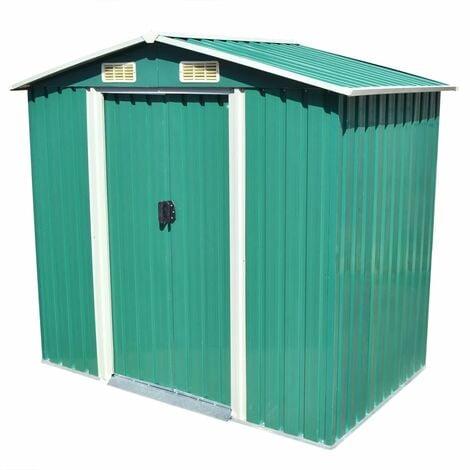 Caseta de jardín de metal 204x132x186 cm verde - Verde